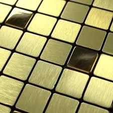 Tile Backsplash Kitchen Gold Stainless Steel Tiles Square Metallic - Square tile backsplash