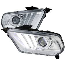 mustang projector headlights mustang headlight projector 2015 style led turn signal pair 2010 2012