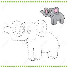connect the dots and coloring page elephant royalty free