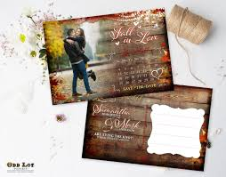 fall save the date postcard calendar fall leaves hanging
