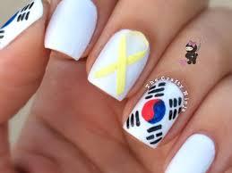 South Korea Flag South Korea Flag Nail Art Tutorial Video