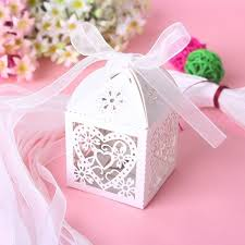 wedding goodie bags heart laser cut candy gift boxes with ribbon wedding party
