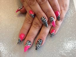 stiletto nails with pink and zebra print nail art nail designs