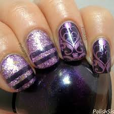 purple manicure with golden rose nicole by opi and china glaze