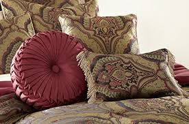 110 X 96 King Comforter Sets Chezmoi Collection Seville 9 Piece Jacquard Green Gold Maroon
