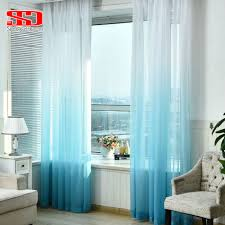 Single Window Curtain by Gradient Blue Tulle Curtains For Living Room Kids Bedroom Voile