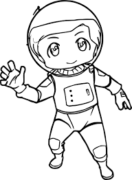 chibi kid astronaut we coloring page wecoloringpage
