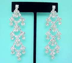 clip on chandelier earrings bridal earrings made with swarovski rhinestones