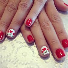 red nails design heart flowers nails pinterest red nail designs