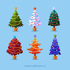 collection of christmas trees in different colours vector free