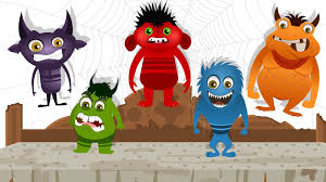 Halloween Cartoon Monsters by Five Little Monsters Nursery Rhyme With Lyrics Halloween Song