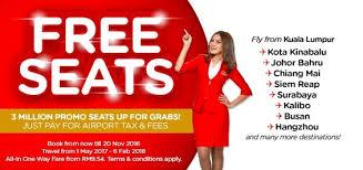 airasia singapore promo airasia free seats promotion 2017 free seats promotion