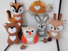 woodland animals felt ornaments owl deer bear chipmunk