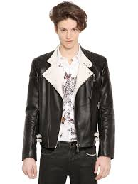 mens leather biker jacket mcq two tone nappa leather biker jacket in black for men lyst