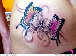 collection of 25 lotus flower and butterflies on shoulder