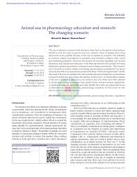 animal use in pharmacology education and research the changing