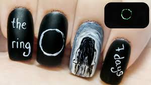 the ring creepy glow in the dark freehand nail art