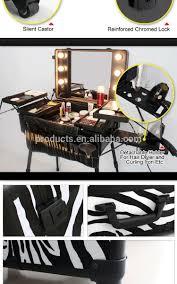 Makeup Artist Light Leopard Aluminum Makeup Case With Mirror Lighting Makeup Case