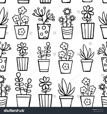 doodle house plants vector seamless pattern stock vector 507677083