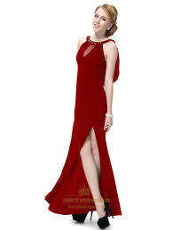 long dark red prom dresses with slits up the side long maroon prom
