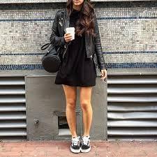 picture of black skater dress a leather jacket and black vans