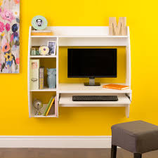 prepac white floating desk with storage and keyboard tray by oj