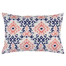 navy and coral ikat damask pillow case carousel designs