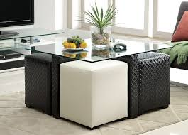 Glass Ottoman Coffee Table Coffee Table With Stools Underneath Dans Design Magz