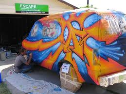 camper van graffiti art with montana spray paint drew brophy