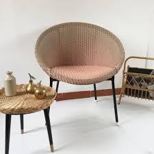 pink lusty lloyd loom vintage wicker chair 1950s chaise lusty