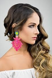 big earrings pink lace earrings neon earrings lace jewelry chandelier