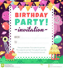 birthday party funny space invitation with cartoon aliens and
