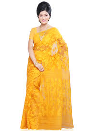 bangladeshi jamdani saree yellow silk and cotton dhakai jamdani saree with blouse spn1119
