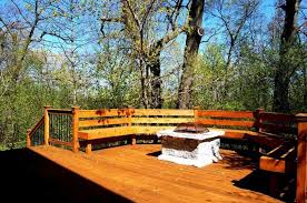 wooden deck with built in benches and fire pit warmth your