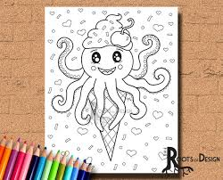 instant download coloring page octopus ice cream art coloring