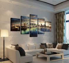 art home decor unframed 5 panels set city bridge landscape canvas printed