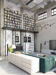industrial lofts home design industrial loft with home library impressive