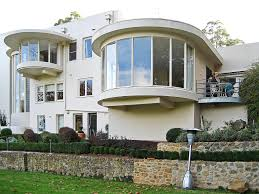 Home Stones Decoration Deco Architecture Art Deco Homes Mixed With Unique Curved Top Glass