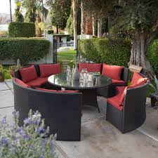 8 seat patio table modern 8 seat wicker resin patio dining set with red cushions