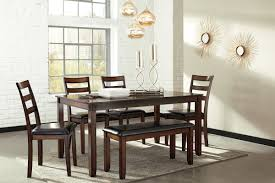 Brown Dining Room Table Signature Design By Ashley Coviar 6 Piece Dining Set U0026 Reviews