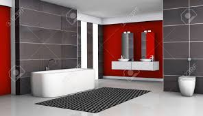 bathroom interior red and black with modern fixtures and
