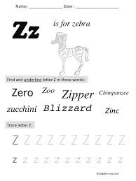 free printable letter z preschool worksheet