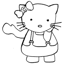 printable hello kitty waving one hand coloring sheet for girls