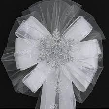 pew bows silver glitter snowflake wedding pew bows church aisle ceremony
