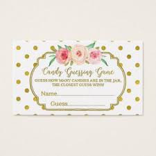 baby shower guessing white gold dots baby shower candy guessing business card