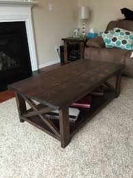rustic x coffee table built from ana white plans assembled using