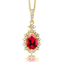 byjoy jewellery byjoy women s 925 sterling silver gold plated pear shaped ruby