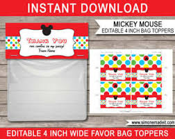 mickey mouse favor bags mickey mouse favors etsy