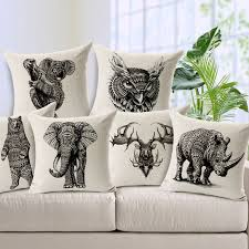 furniture dazzling square shape white animal print decorative