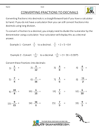 Worksheet On Converting Fractions To Decimals Convert Fractions To Decimal